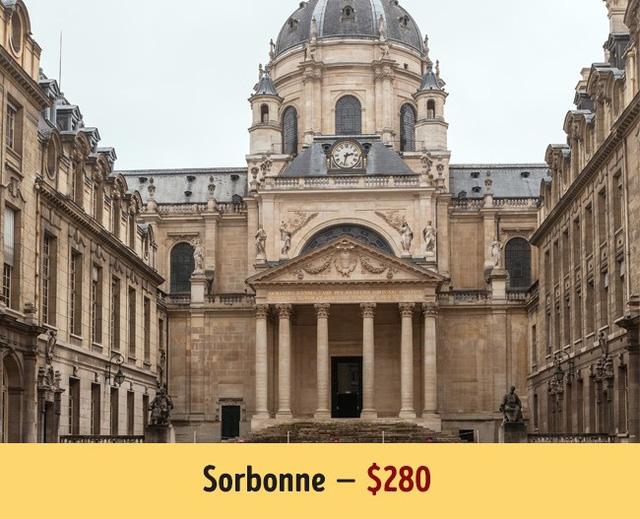 Sinh viên không phải trả tiền học phí khi theo học Sorbonne, thế nhưng để vào được trường bạn cần chi khoản phí 280$ cho quy trình đăng kí, tuyển sinh.